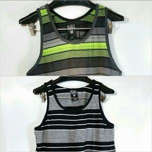 Point Zero Shirts - 2pc Lot Point Zero Tank Top Stripes B&W Green Gray